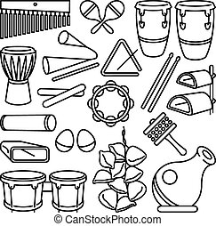 Percussion Instruments - Vector drawing of a set of Latin...