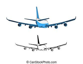 Vector drawing of airplane in blue color, isolated on white background. Drawing for posters, decoration and print. Vector illustration