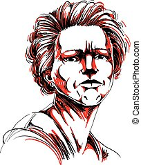 Vector drawing of angry woman with stylish haircut. Colorful portrait of attractive lady expressing doubt, disbeliever.