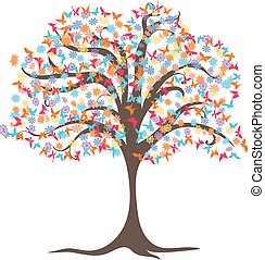 Vector drawing of blossoming tree with flowers and butterflies