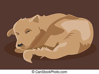 Vector drawing of brown dog sleeping