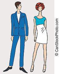 Vector drawing of couple elegant young people