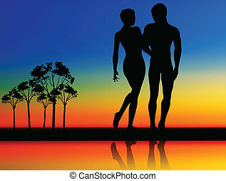 couple silhouettes on walking position