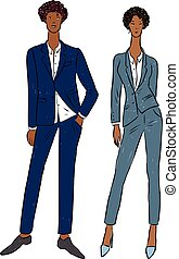 Vector drawing of couple young people in classical business ...