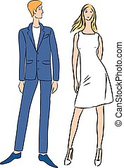 Vector drawing of couple young slim people
