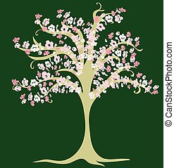Vector drawing of decorative blossoming cherry tree