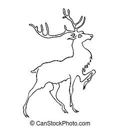 Vector drawing of deer