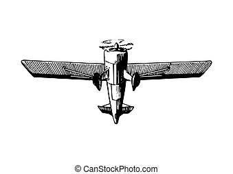 Vector drawing of flying aircraft.Vintage retro plane poster, card. Hand sketch aviation illustration in engraving style