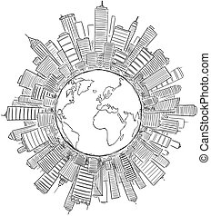 Vector Drawing of Generic Modern High Rise Buildings Around Circle or Globe