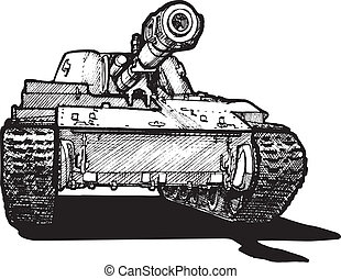 heavy tank - Vector drawing of heavy tank stylized as...