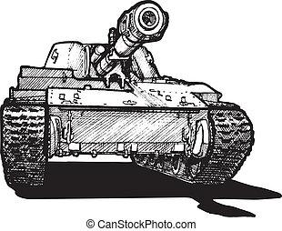 heavy tank - Vector drawing of heavy tank stylized as...