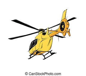 Vector drawing of helicopter in yellow color, isolated on white background. Drawing for posters, decoration and print. Vector illustration