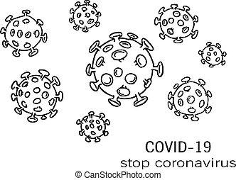 Vector drawing of outline human Coronavirus virion in black ...