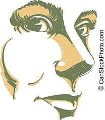 Vector drawing of pensive woman thinking about something. Artistic portrait of attractive still lady, visage features.