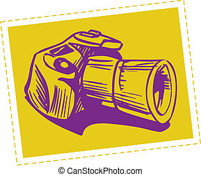 reflex camera - Vector drawing of reflex camera stylized as ...