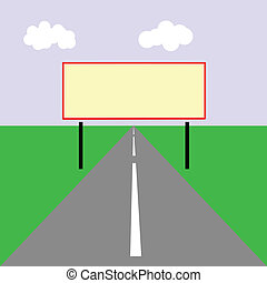vector drawing of the billboard on road