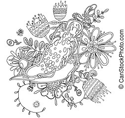 Vector drawing of the bird coloring book - Vector drawing of...