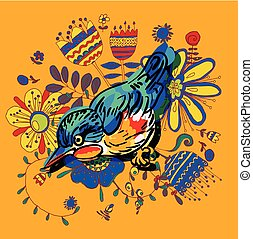 drawing of the bird - Vector drawing of the bird
