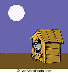 vector drawing of the dog in kennel on white background