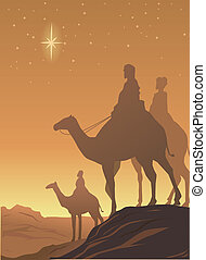 three wisemen - vector drawing of three wisemen on the...