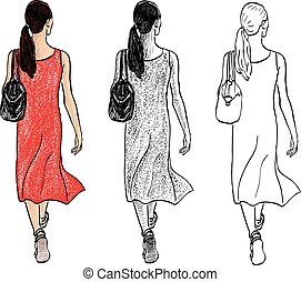 Vector drawing of young city woman walking along street on summer day