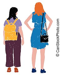 Vector drawing of young city women outdoors on summer day