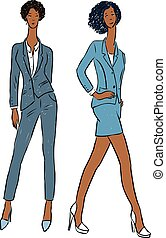 Vector drawing of young slender women in business costumes