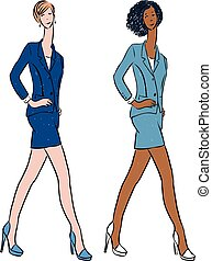 Vector drawing of young slim women in business suits