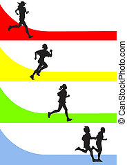 running - vector drawing running a marathon women's sports