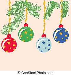 Vector drawing set of Christmas balls on a blue background in a flat style.