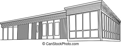 wooden house - Vector drawing sketch of modern wooden house