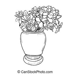 Vector drawing sketch of vase with flowers