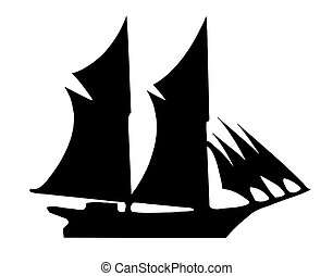 vector drawing - illustration of the old-time frigate on...