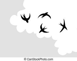 vector drawing swallow flying to sky