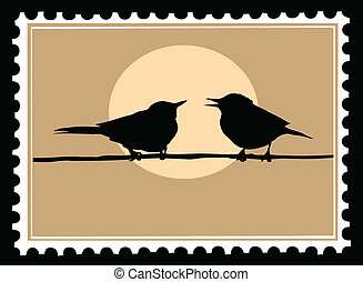 vector drawing two birds on branch