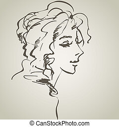 vector drawing with a portrait of the young, beautiful girl