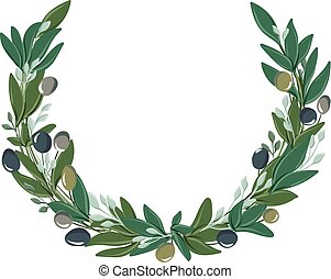 round wreath with olive leaves and olives - vector drawings...