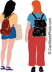 Vector drawings of two students girls outdoors on summer day