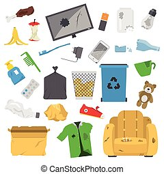Household waste garbage icons