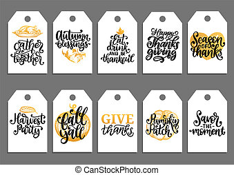 Vector drawn and handwritten labels of Autumn Blessings,...