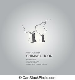 Vector drawn chimney. The background is a gradient of gray.