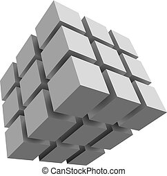Vector drawn cubes, isolated on white background.
