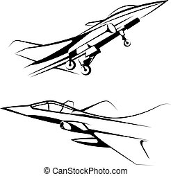 Vector drawn fighter, isolated on white background.