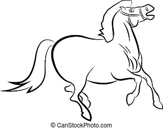 Vector drawn horse, isolated on white background.