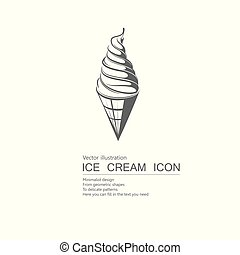 Vector drawn ice cream. Isolated on white background.