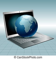 Vector drawn laptop and earth. Global communication concept.