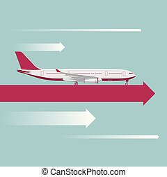 Vector drawn large passenger plane.On the arrow in mid air.
