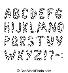 Vector drawn letters of the alphabet with a black pattern