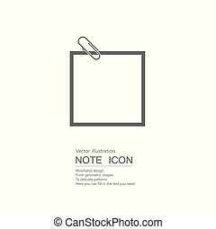 Vector drawn note paper. Isolated on white background.