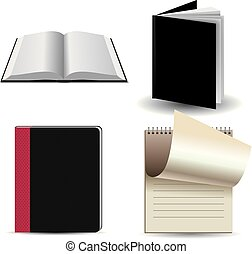 Vector drawn notebook collection, isolated on white background.